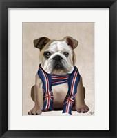 Framed English Bulldog with Scarf