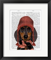 Framed Dachshund in Pink Hat and Scarf