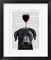 Framed Dog Au Vin, Black Labrador