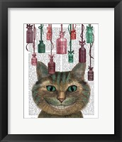 Framed Cheshire Cat and Bottles