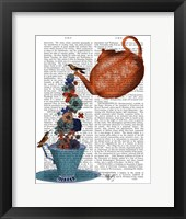 Framed Teapot, Cup and Flowers, Orange and Blue
