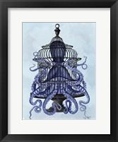 Framed Blue Octopus in Cage