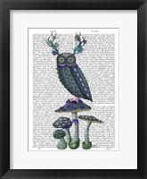 Framed Owl on Mushrooms