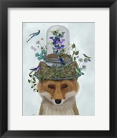 Framed Fox with Butterfly Bell Jar