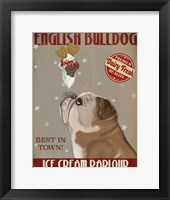 Framed English Bulldog Ice Cream
