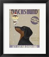Framed Dachshund, Black and Tan, Ice Cream