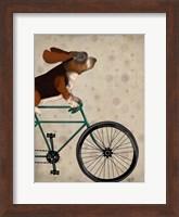 Framed Basset Hound on Bicycle