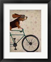 Framed Basset Hound on Bicycle