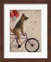 Framed German Shepherd on Bicycle