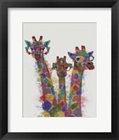 Framed Rainbow Splash Giraffe Trio