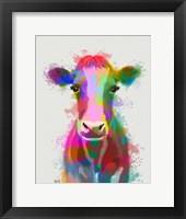 Framed Rainbow Splash Cow