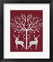 Framed Christmas Des - Deer and Heart Tree, Grey on Red