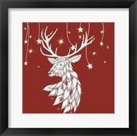 Framed White Deer and Hanging Stars