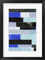 Framed Black & Blue Bricks I
