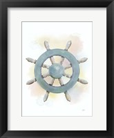 Framed Watercolor Ship's Wheel