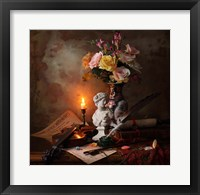Framed Still Life With Bust And Flowers