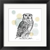 Framed Sketchbook Lodge Owl Neutral