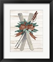 Framed Holiday Sports on Wood IV Luxe