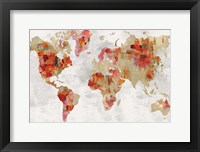 Framed Red Map
