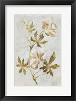 Framed Botanical Gold on White IV