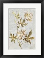 Framed Botanical Gold on White IV