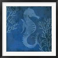 Framed Navy Sea horse