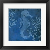Framed Navy Sea horse