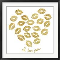 Framed I Love you Gold Lips