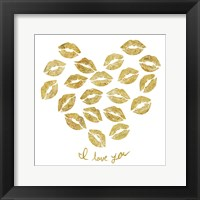 Framed I Love you Gold Lips