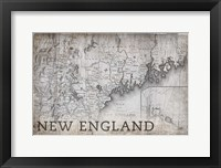 Framed New England Map White