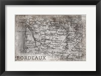 Framed Bordeaux Map White