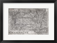 Framed Champagne Map White