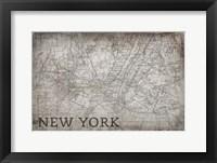 Framed New York Map White