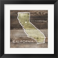 Framed California Rustic Map