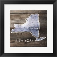 Framed New York Rustic  Map