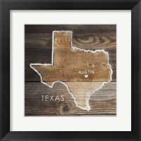 Framed Texas Rustic Map