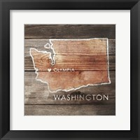 Framed Washington Rustic Map