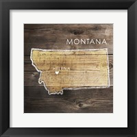 Framed Montana Rustic Map