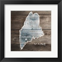 Framed Maine Rustic Map