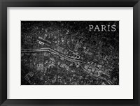 Framed Map Paris Black