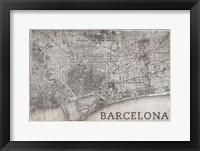 Framed Map Barcelona Beige