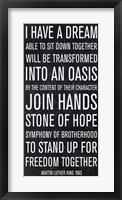 Framed Martin Luther King speech