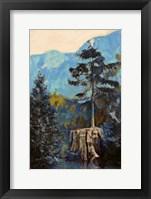 Framed Pine on Blue