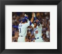 Framed Chris Taylor & Justin Turner celebrate turner's 2 run Home Run Game 1 of the 2017 World Series