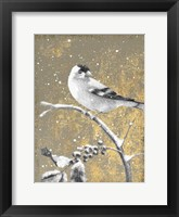 Framed Winter Birds Goldfinch Neutral
