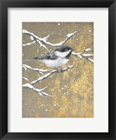 Framed Winter Birds Chicadee Neutral