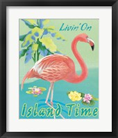Framed Island Time Flamingo II