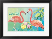 Framed Island Time Flamingo I