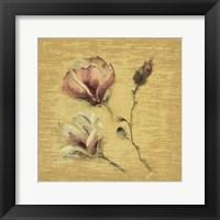 Framed Magnolia Blossom on Gold