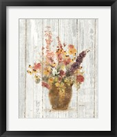 Framed Wild Flowers in Vase I on Barn Board
